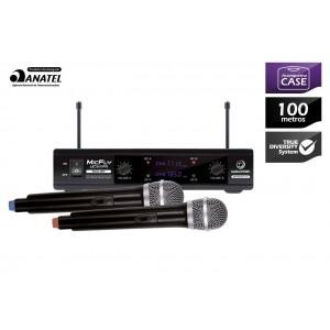 Microfone Sem Fio / Wireless  UHF Profissional com 1 Receptor e 2 Microfones UC 201FX WALDMAN