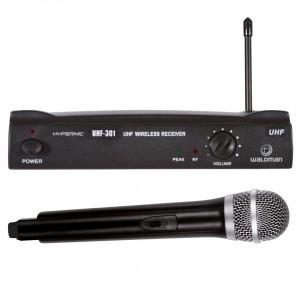 Microfone profissional Wireless sem fio com receptor Waldman Hypermic UHF 301