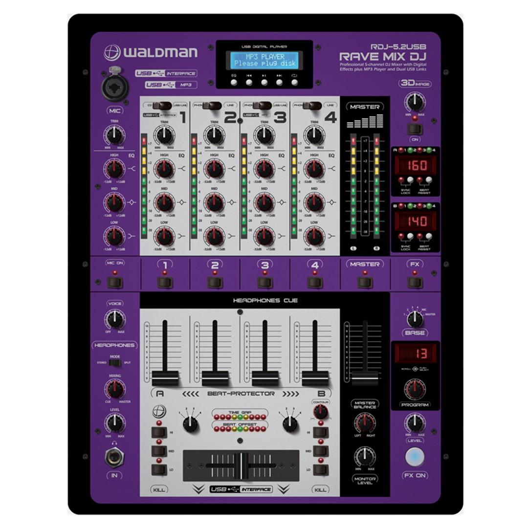 DJ Mixer Profissional de 5 Canais + 2 USB Interfaces Rave Mix RDJ-5.2USB WALDMAN