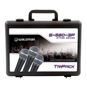 Kit com 3 Microfones S 580 com Cachimbo e Bag WALDMAN